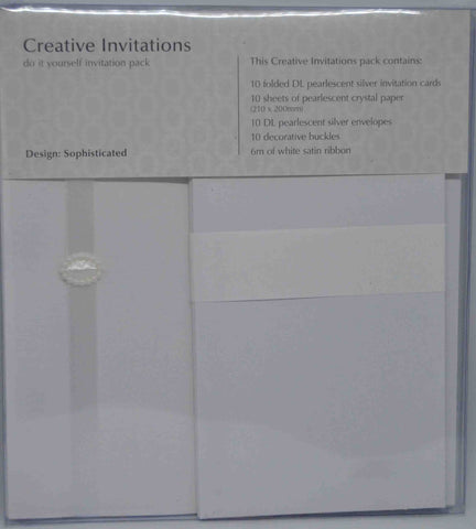 Preprinted Invitations - Sophisticated - Pearlescent Metallic Faux Pearl - 10 Pack