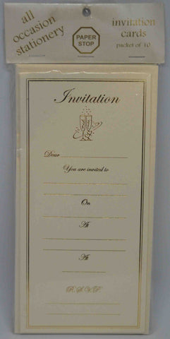 Specials - Preprinted Invitations - Champagne Glasses - Metallic Cream / Gold - 10 Pack