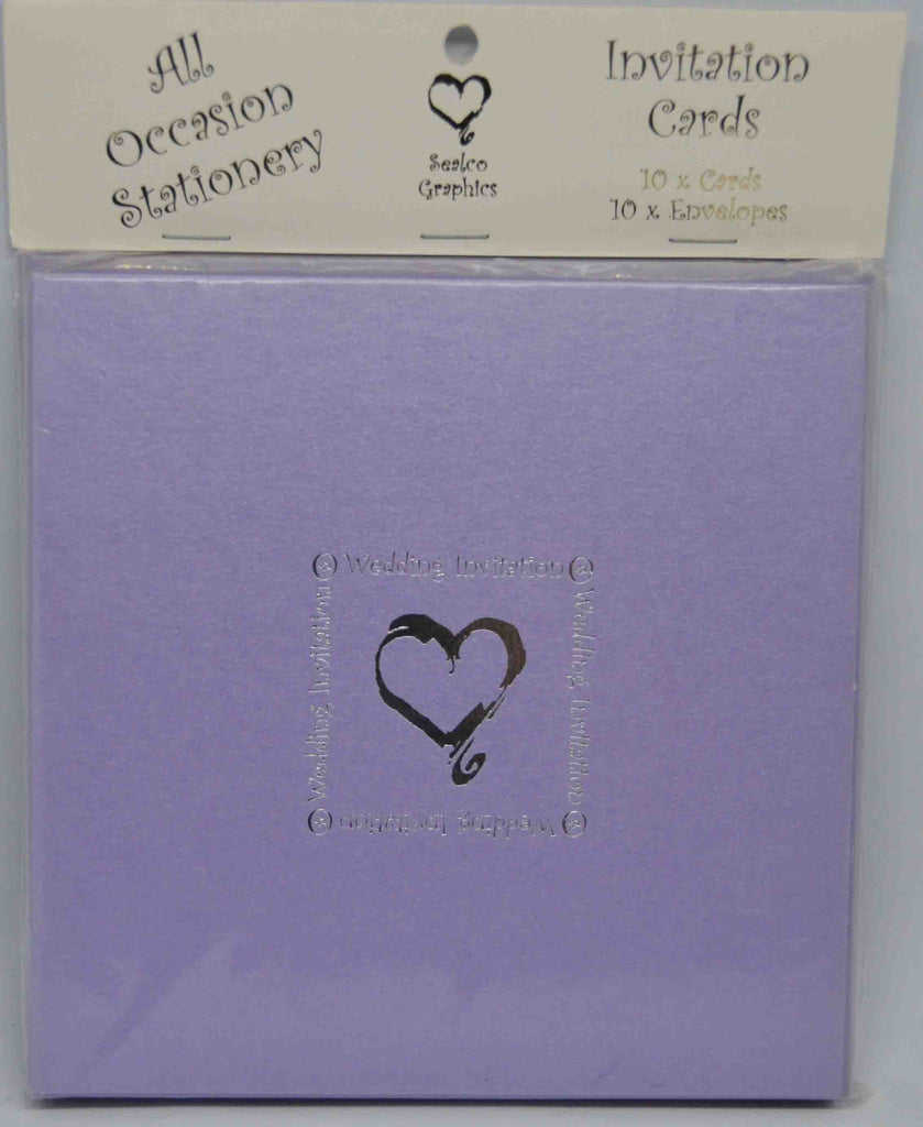Specials - Preprinted Wedding Invitations - Square Pearlescent Metallic Amyethst / Lilac / Lavender / Silver Heart - 10 Pack