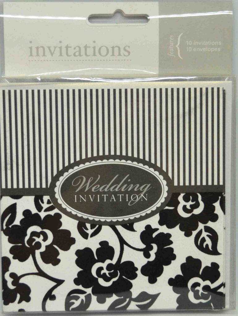Preprinted Invitations - Wedding - Square White / Black Flocked / Velvet Flowers - 10 Pack