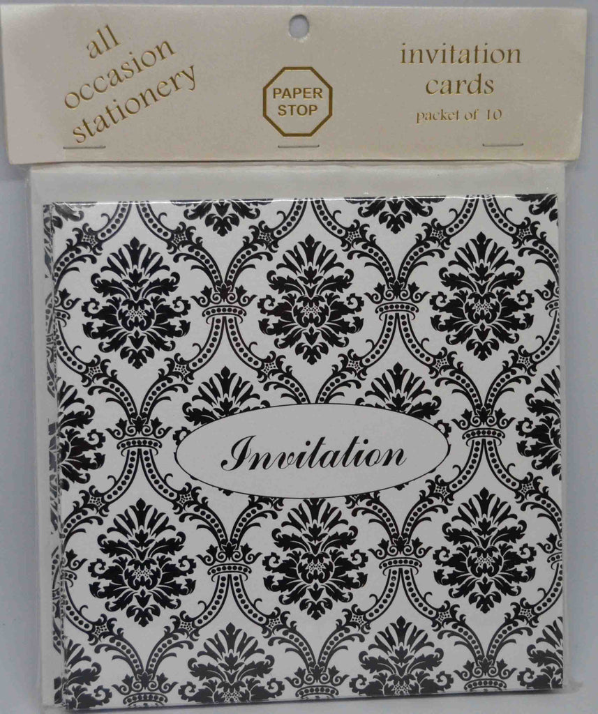 Preprinted Invitations - Square Metallic White / Black Damask - 10 Pack