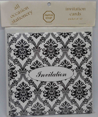 Specials - Preprinted Invitations - Square Metallic White / Black Damask - 10 Pack