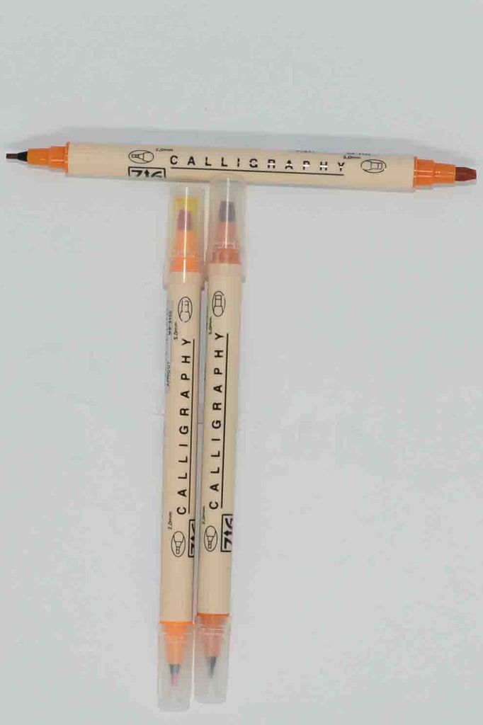 Pens - ZIG Dual Ended Calligraphy - Fine/Thick Chisel - Amber/Orange/Yellow - Click here to choose colour
