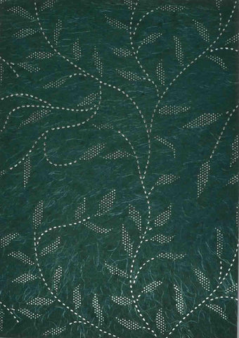 A4 - Patterned - Chiffon Precious Metals (Embossed) - Leaves and Stems Forest Green / Silver