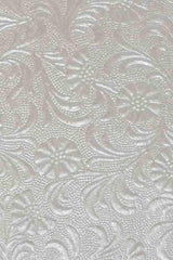 A4 - Metallic Embossed, Flowers - Pearl White