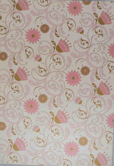 A4 - Patterned - Metallic Florentine Floral Pink - Gold/Pink on Pearl Ivory