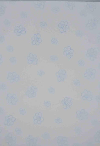 A4 - Translucent / Vellum - Patterned - Daisies - Blue on Sheer