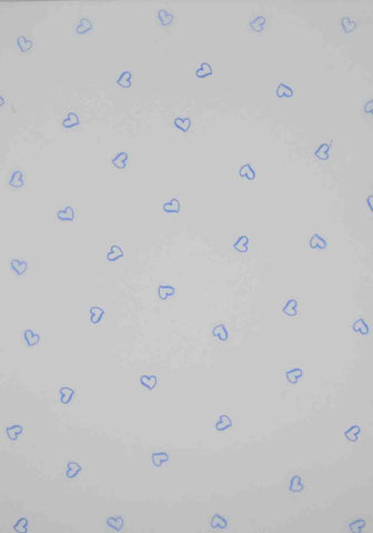 A4 - Translucent / Vellum - Patterned - Small Hearts - Blue on Sheer