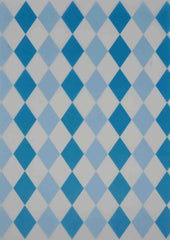 A4 - Translucent / Vellum - Patterned - Harlequin Diamonds - White / Turquoise / Pale Blue