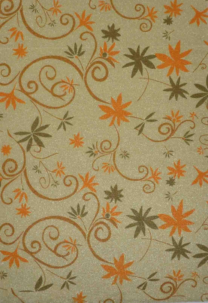A4 - Patterned - Chiffon Glittered Wimsey Swirls/Leaves - Antique Gold / Olive / Tan