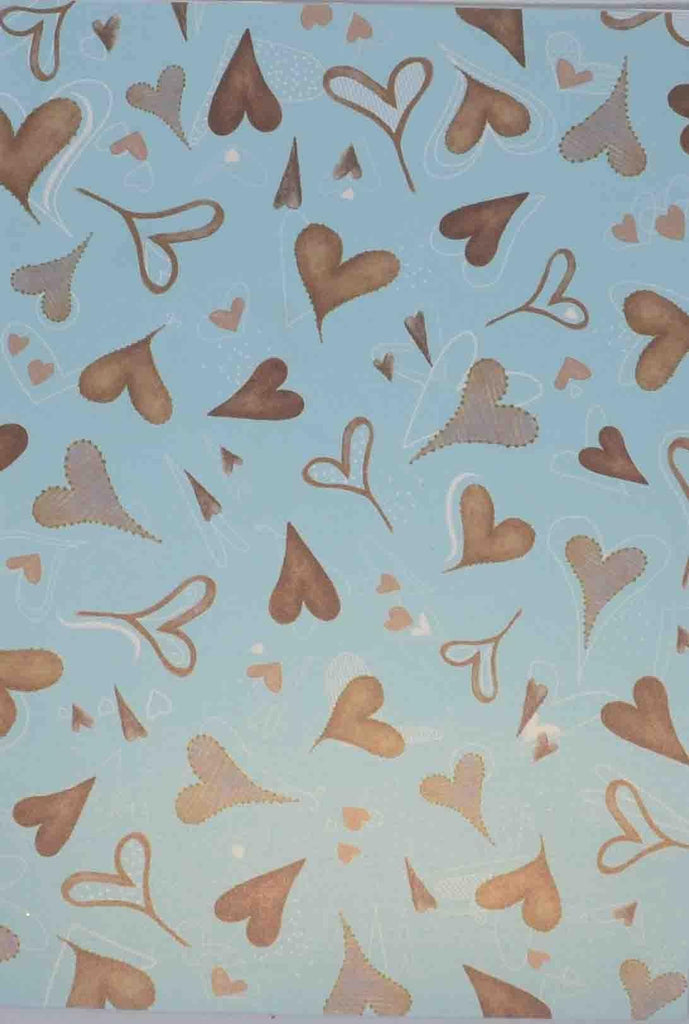 A4 - Patterned - Metallic Chocky Hearts - Pale Blue / Chocolate / White