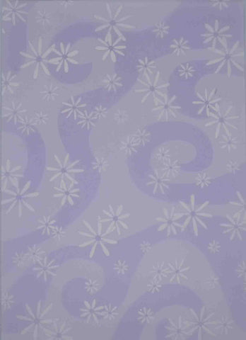 A4 - Translucent / Vellum - Patterned - Daisies /Swirls - White on Lavender / Purple