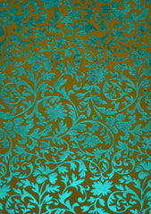 A4 - Patterned - Metallic Foil - Brocade - Olive Matt / Turquoise Green Foil