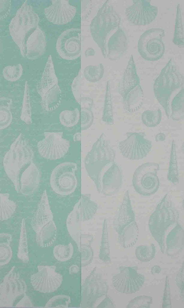 A4 - Patterned - Double Sided Linen - Shells - Pastel Turquoise Green / White