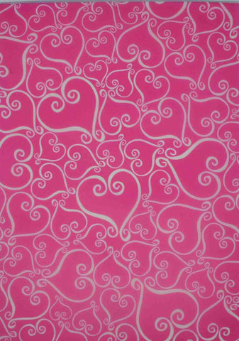 A4 - Translucent / Vellum - Patterned - Tiffany Hearts - White on Hot Pink