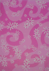 A4 - Translucent / Vellum - Patterned - Daisies / Swirls - White on Hot Pink