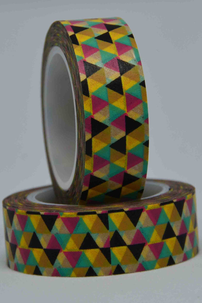 Washi Tape - Triangles 1 - 5 Colours Yellow, Black, Red, Green, Ochre