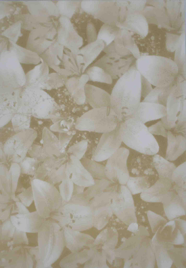 A4 - Translucent / Vellum - Patterned - Oriental Lilies - Antique Old Gold on Sheer
