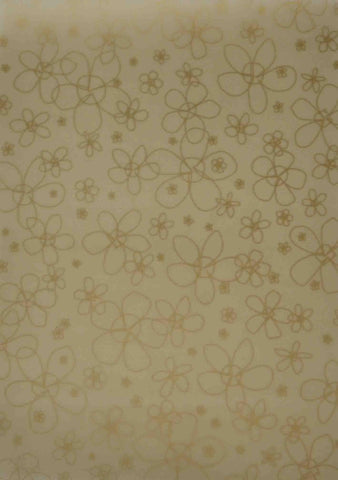 A4 - Translucent / Vellum - Patterned - Big Daisies - Gold on Gold