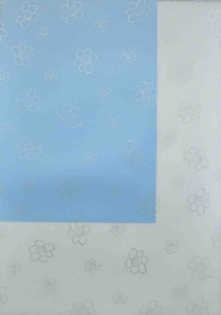 A4 - Translucent / Vellum - Patterned - Daisies Swirl Centre - Silver on Sheer