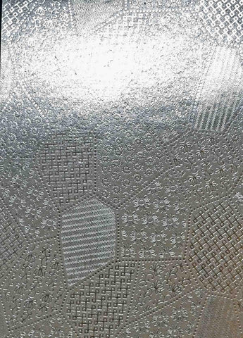 A4 - Patterned - Metallic Flat Foil - Patchwork - Silver