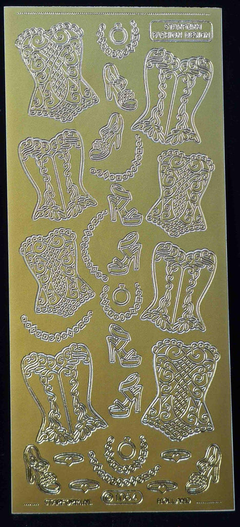 Adhesives - Stickers - Corset / Bustier - Gold