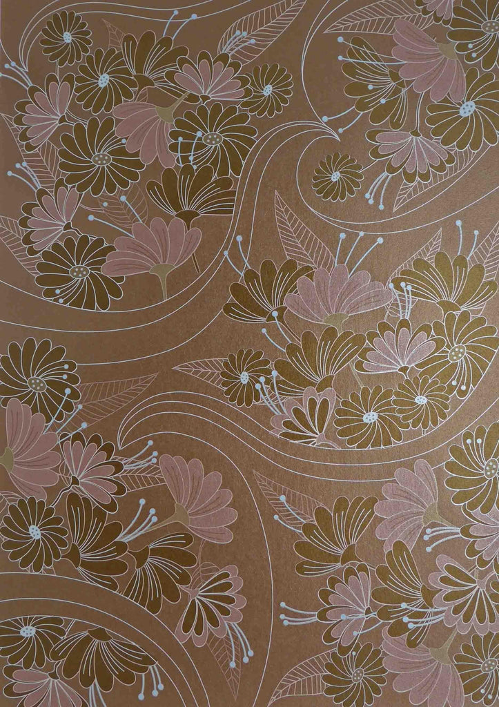 A4 - Patterned - Japanese Metallic Paper - Kyoto Garden - Bronze, White, Pale Blue