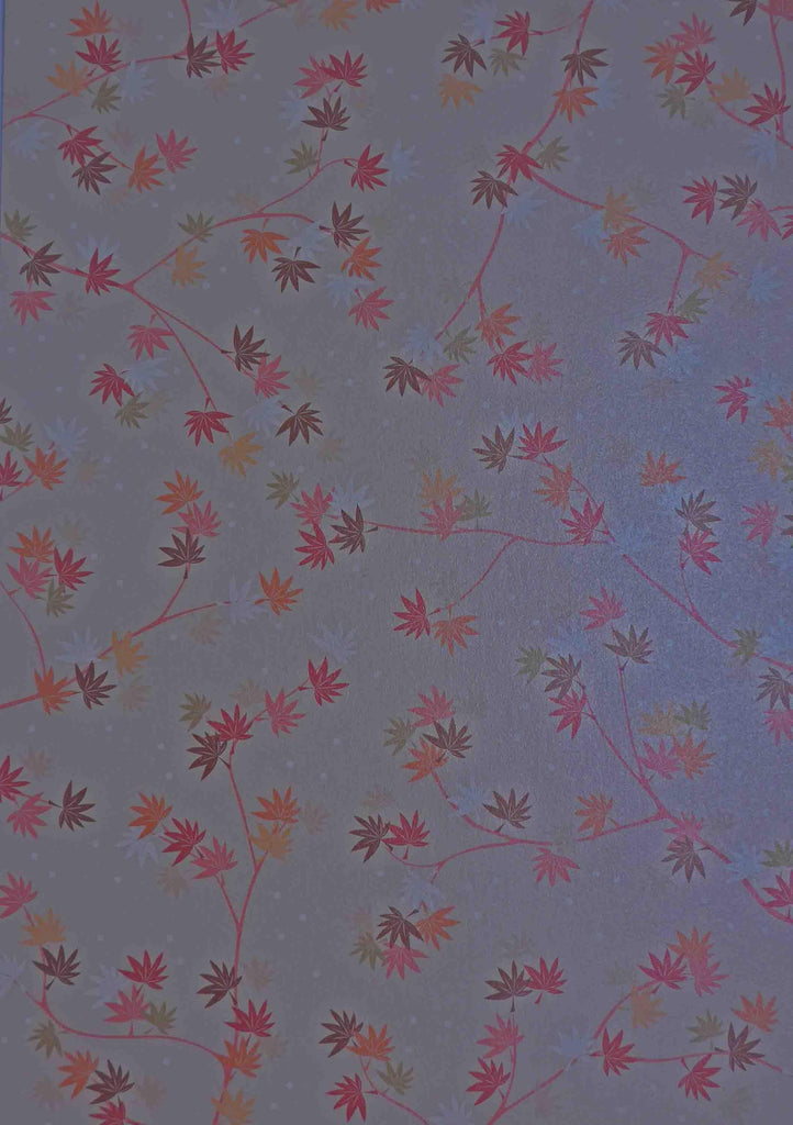 A4 - Patterned - Japanese Metallic Paper - Orchard Leaves - Pale Pink, Maroon, Orange, White