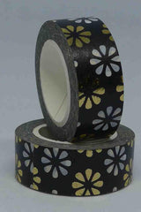 Washi Foil Tape - Daisy on Black - Gold and White
