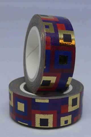 Washi Foil Tape - Frames and Squares - Purple, Pink, Black, Gold