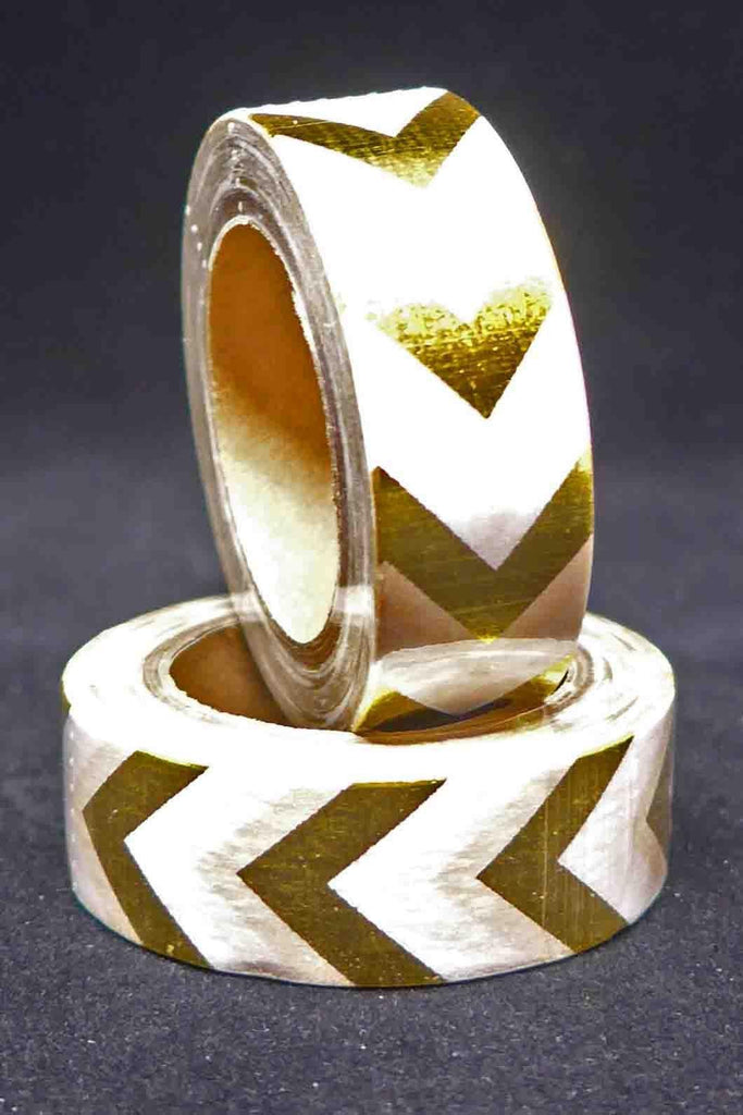 Washi Foil Tape - Chevrons - Gold and White
