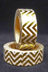 Washi Foil Tape - Zigzag - Gold and White