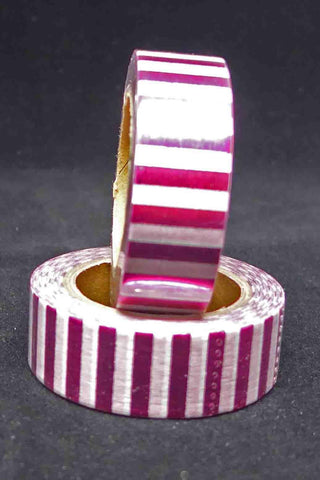 Washi Foil Tape - Stripes - Hot Pink and White