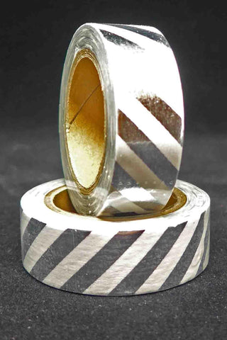 Washi Foil Tape - Diagonal Stripes - Silver and White