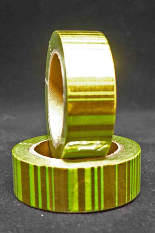 Washi Foil Tape - Stripes - Green and Gold