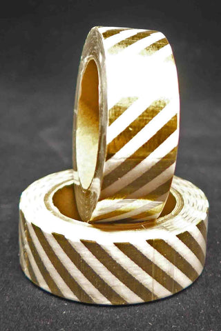 Washi Foil Tape - Diagonal Stripes - Gold and White