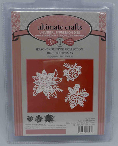 Dies - Ultimate Crafts - 3 in 1 - Christmas Poinsettia, Bauble & Cones (Rustic Christmas)