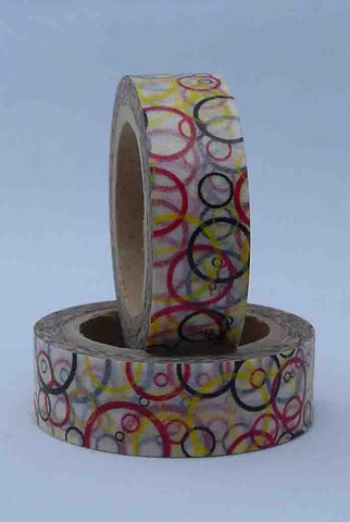 Washi Tape - Circles - Red, Yellow, Black on White