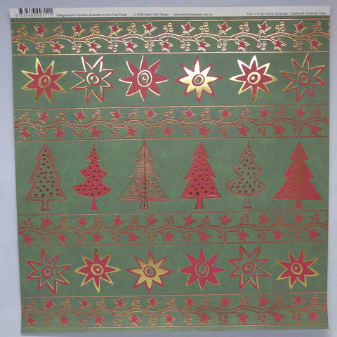 12 x 12 - Christmas - Alison Ellis Foil - Christmas Trees - Red/Green/Gold