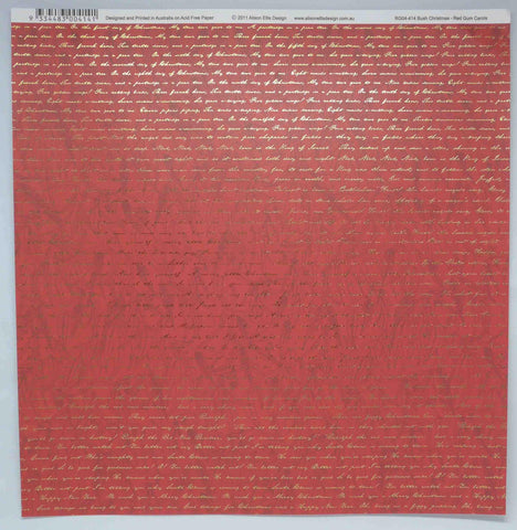 12 x 12 - Christmas - Alison Ellis Foil - Red Gum Carols - Red/Gold