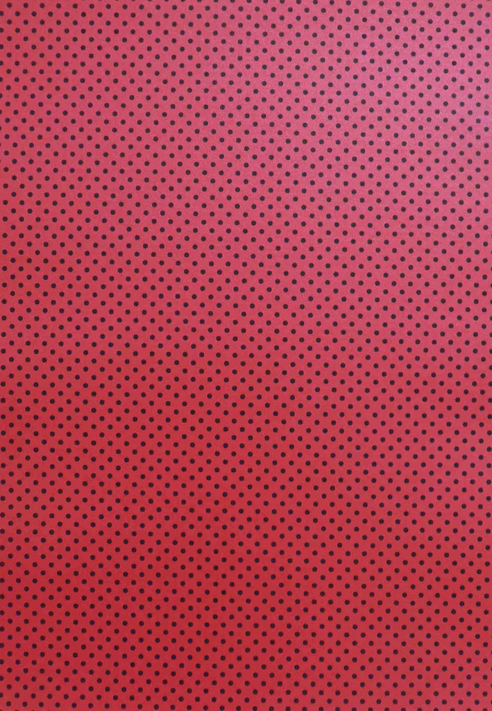 A4 - Patterned - Metallic Dots - Black on Red