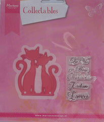 Dies - Marianne Designs Collectables - French Cat (with word stamps)