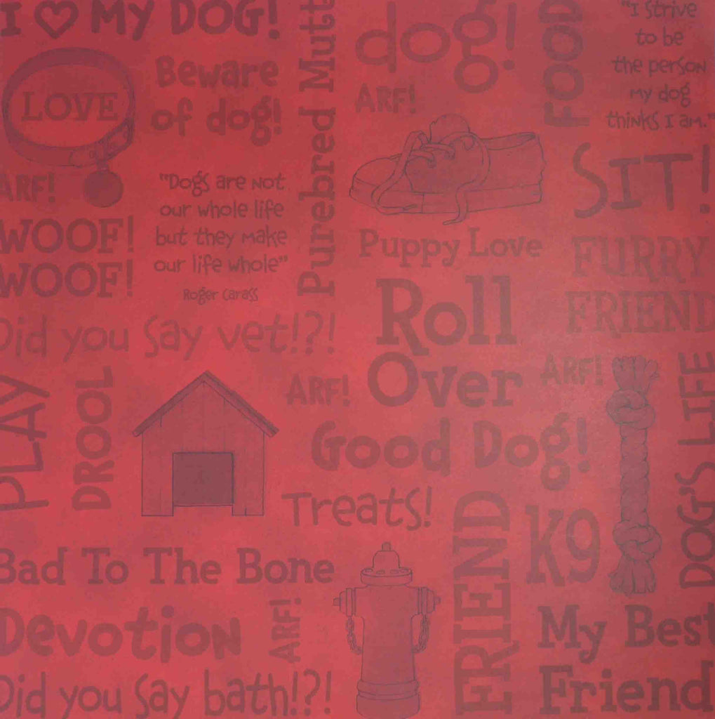 12 x 12 - Patterned - Animals - Dog Words