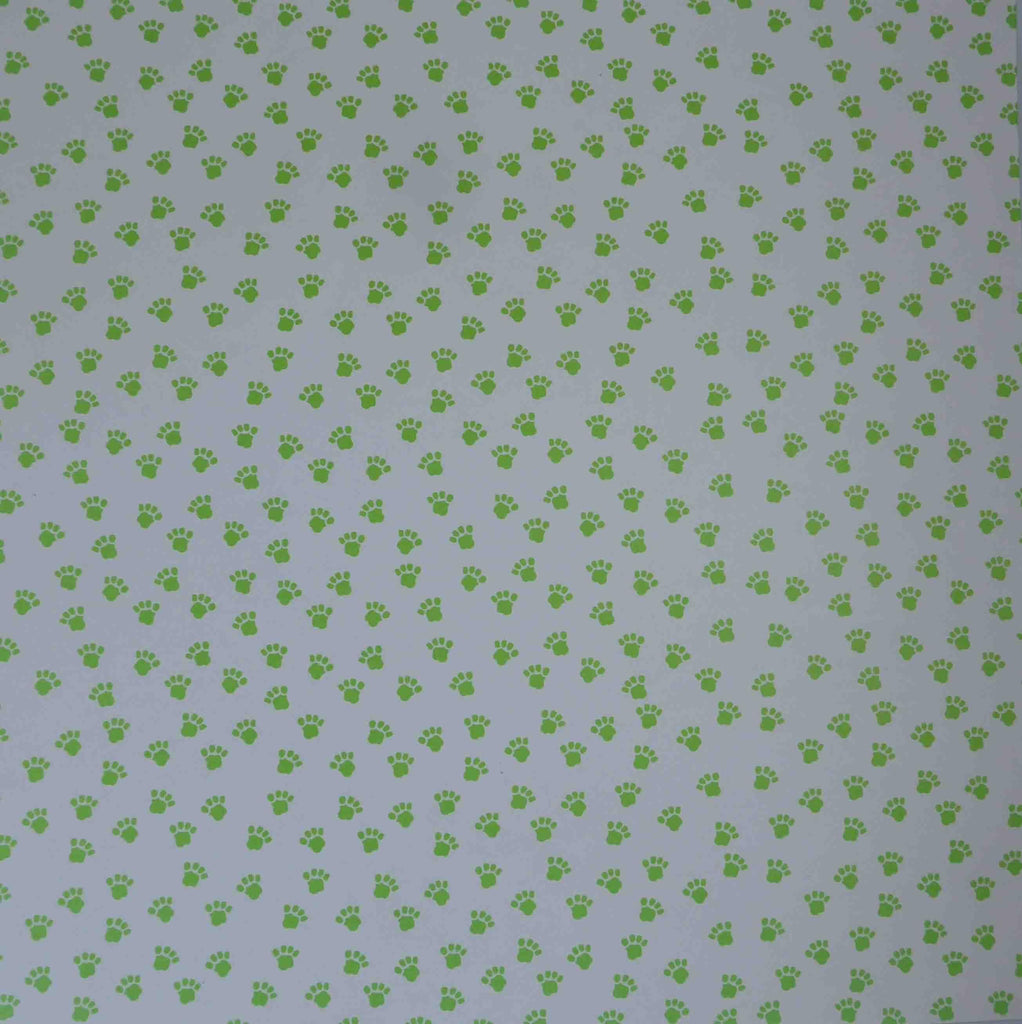 12 x 12 - Patterned - Animals - Paws (White/Lime Green )