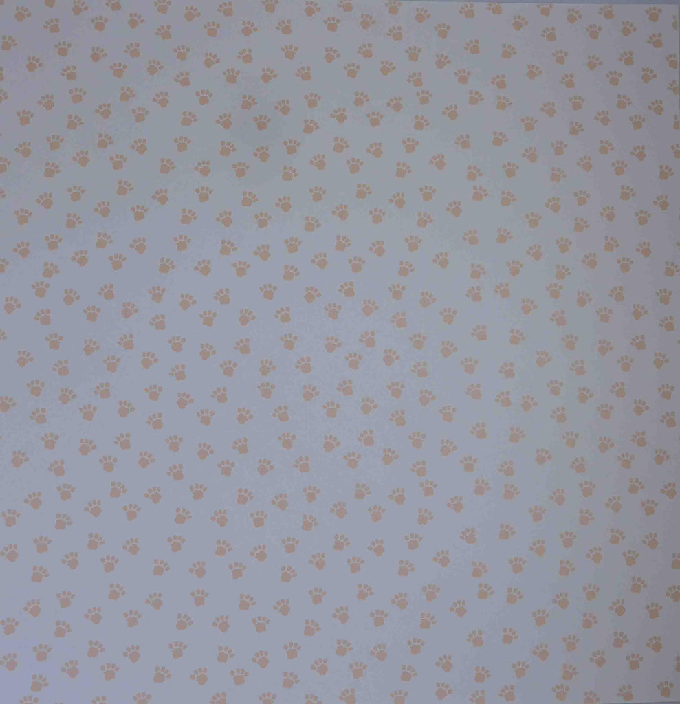 12 x 12 - Patterned - Animals - Paws (White/Apricot Orange)