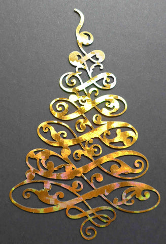 Ephemera - Chipboard - Swirling Christmas Tree