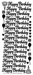 Adhesives - Stickers - Words - Happy Birthday - Gold, Silver, Black