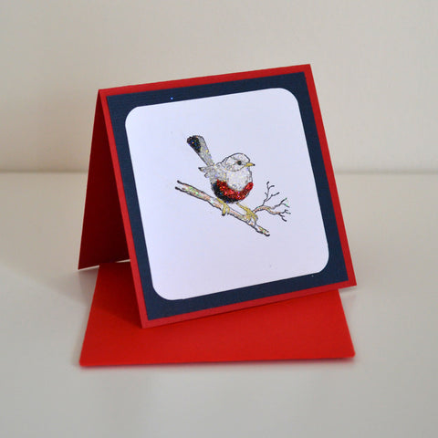 Ready Made Cards - Robin Mini Card / Gift Tag - Click here to choose colour