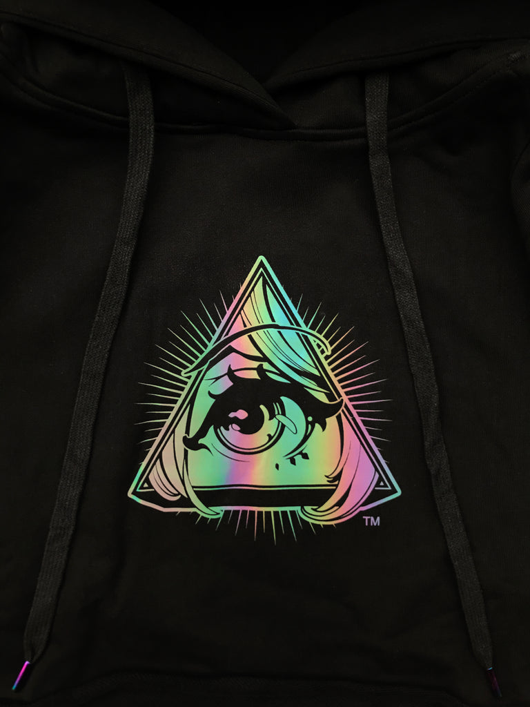 Black Rainbow Crop Top Hoodie