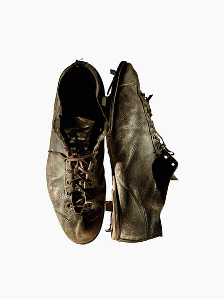 Fine Art Print - VINTAGE BASEBALL CLEATS NO. 2, C. 1900'S, TOP AND SIDE VIEW